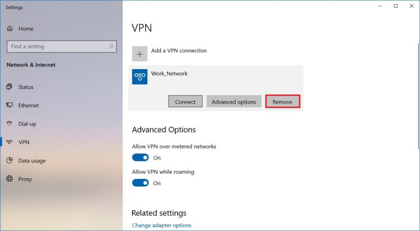 Delete VPN connection on Windows 10
