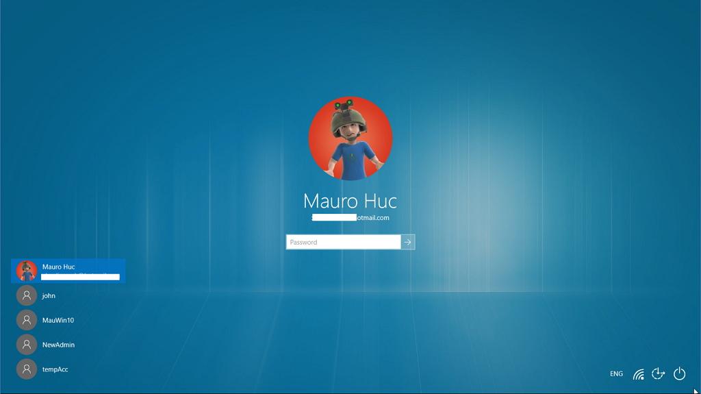 Logon screen in Windows 10