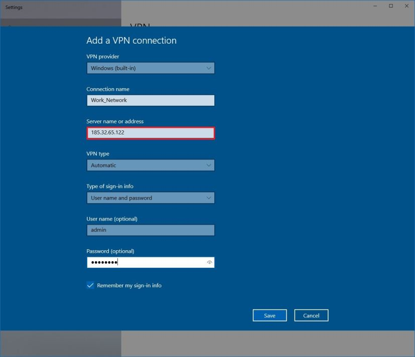 New VPN connection settings on Windows 10