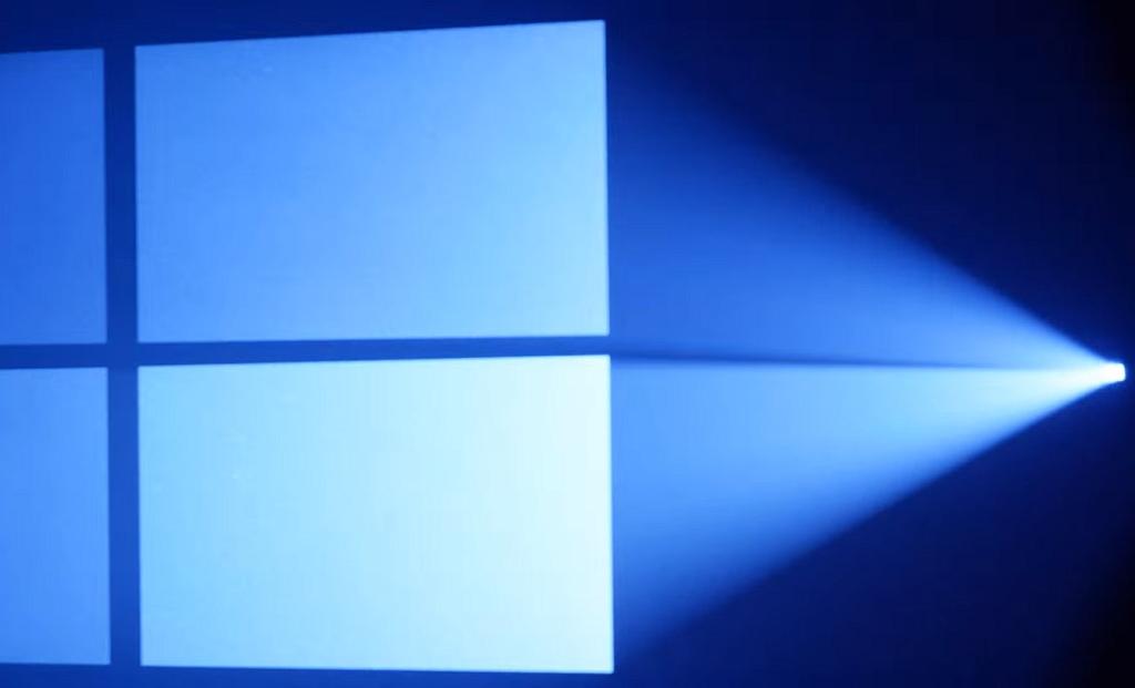 Windows 10 logo with blue lights