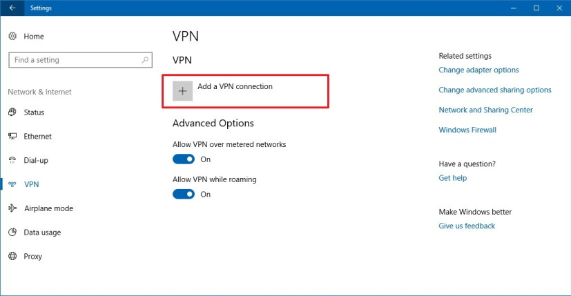 Windows 10 VPN settings