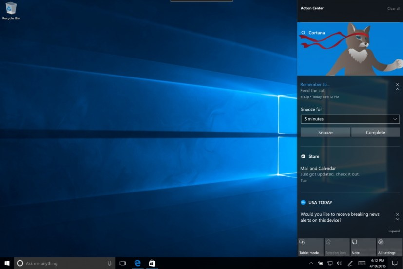 Action Center flyout layout on Windows 10 Anniversary Update
