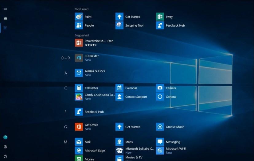 New Start screen for Windows 10