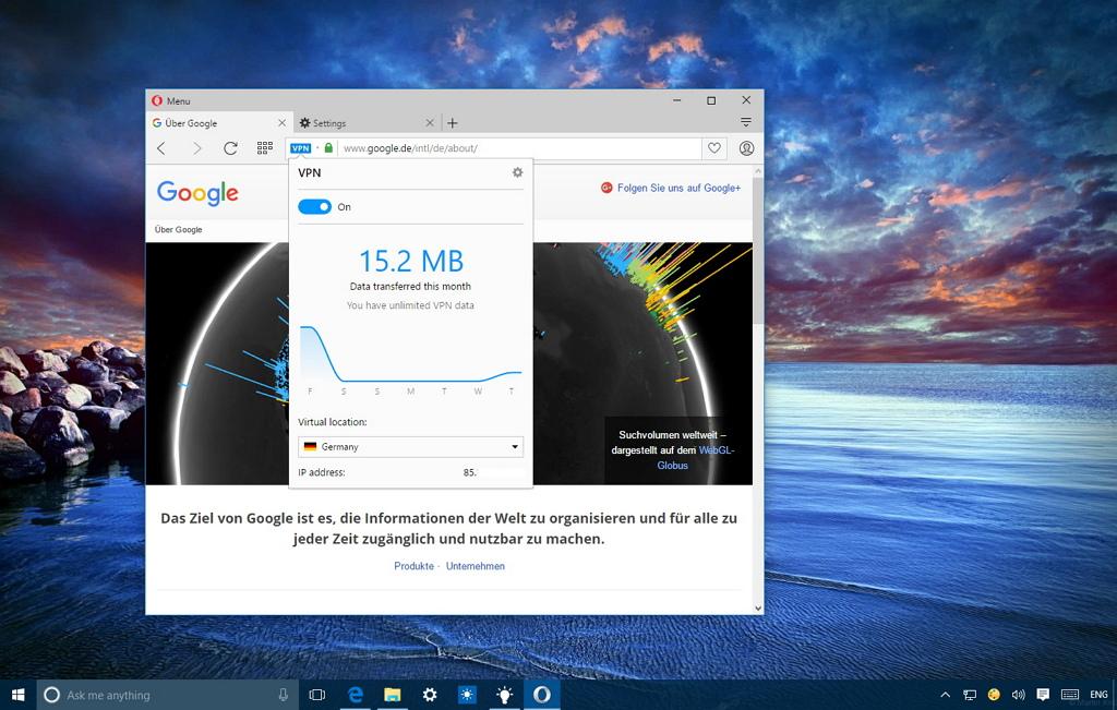Enable Opera VPN feature