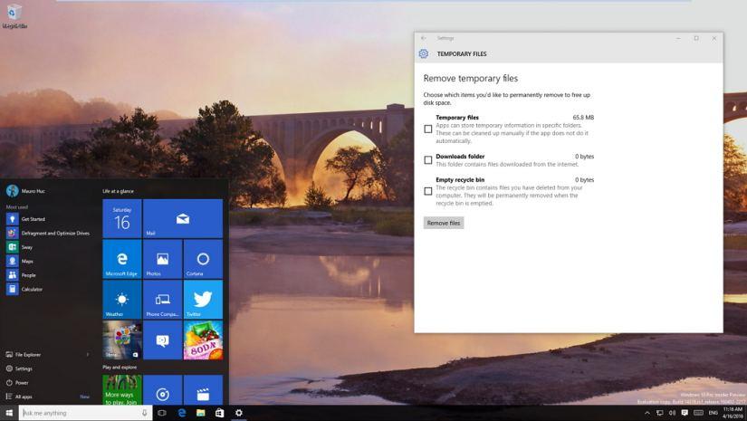 Remove temporary files settings on Windows 10