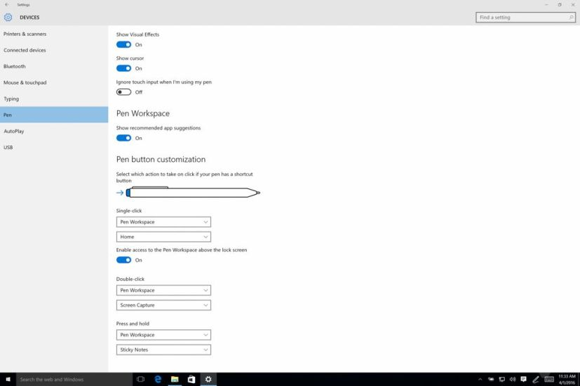 Windows Ink settings on Windows 10