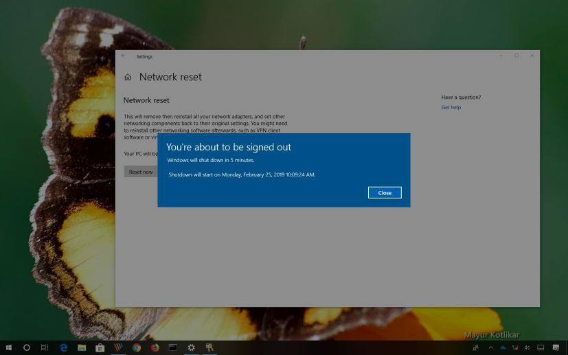 Reset network settings on Windows 10