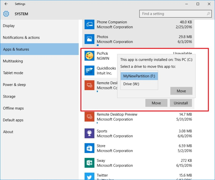 Move already installed apps on Windows 10 to another drive