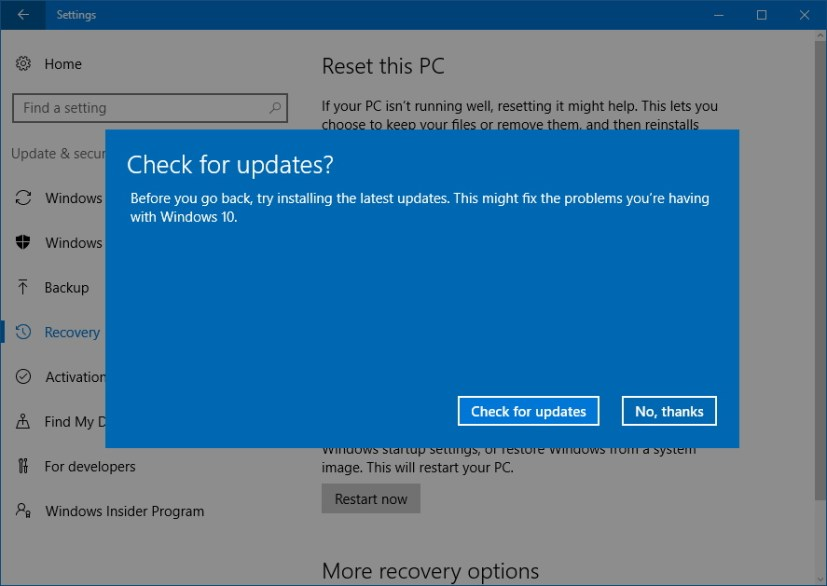 Step - Check for update before uninstalling Windows 10 Creators Update