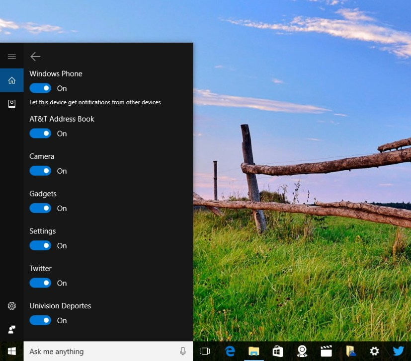 Cortana phone to PC notifications settings