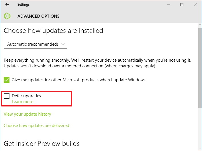Defer Windows 10 Upgrades options on the Settings app