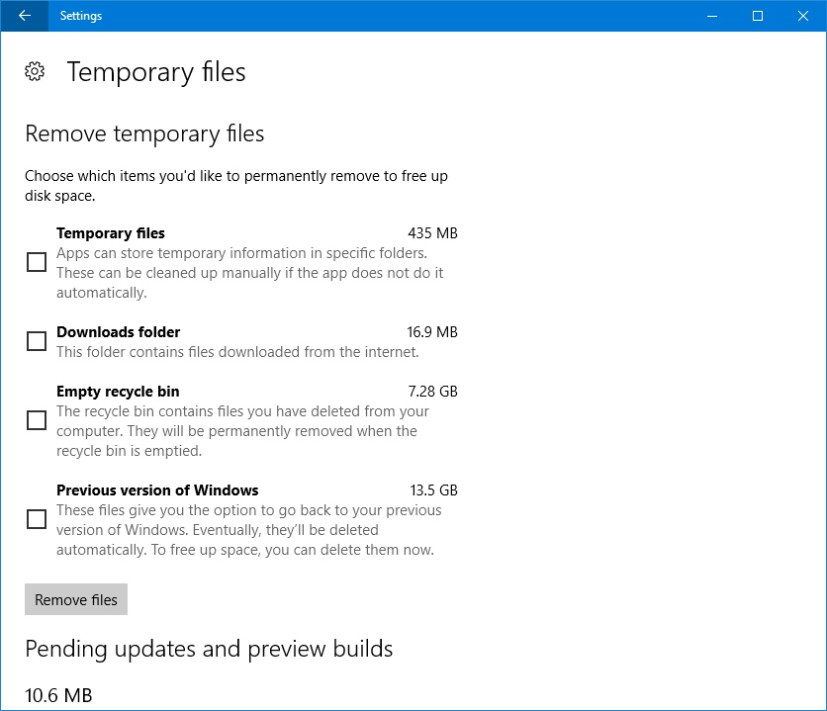 Temporary files settings app delete previous version of Windows 10