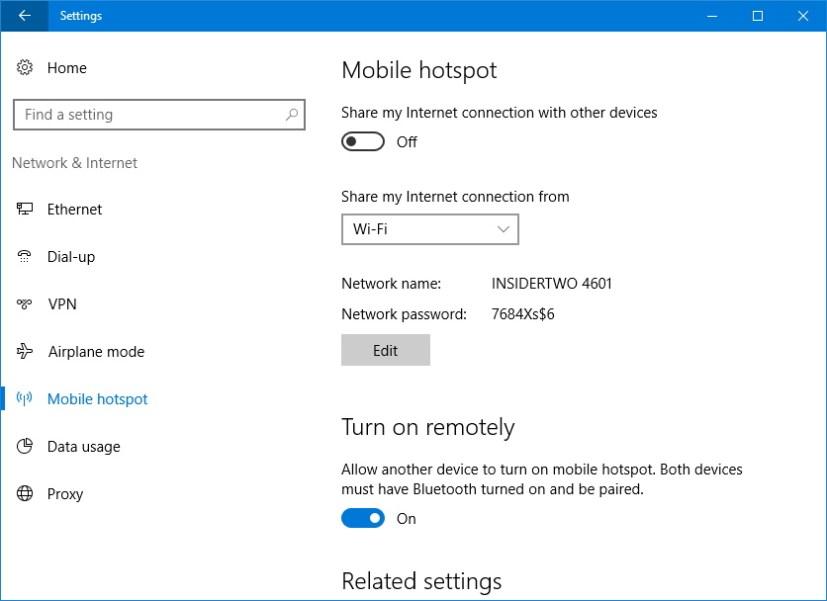 Windows 10 Anniversary Update Mobile Hotspot