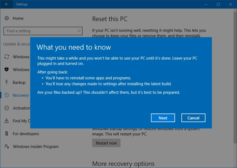 Step - What you need to know before modifying your WIndows 10 installation