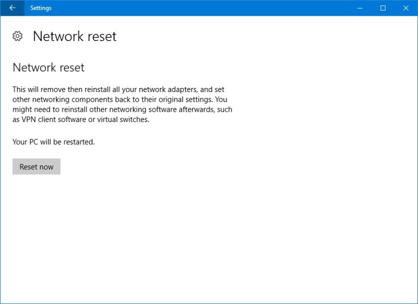 Network reset settings option on the Windows 10 Anniversary Update