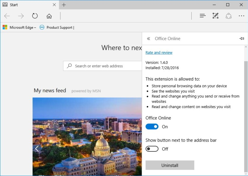 Show button next to the address bar for Microsoft Edge extensions