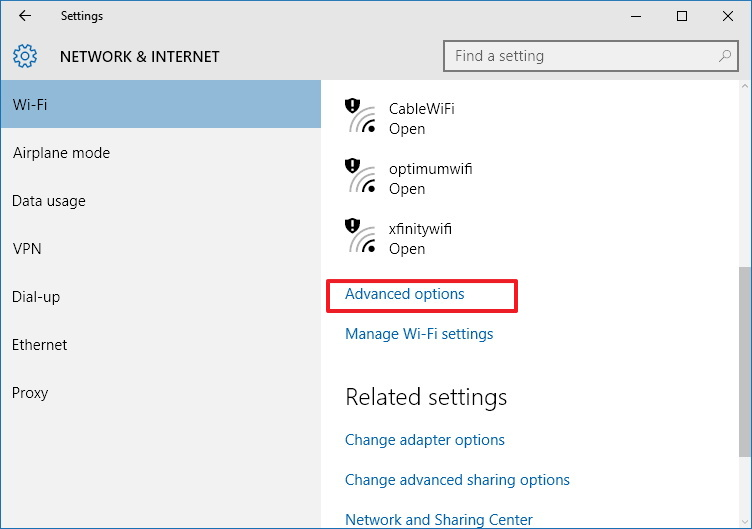 Wi-Fi Advanced options for Windows 10