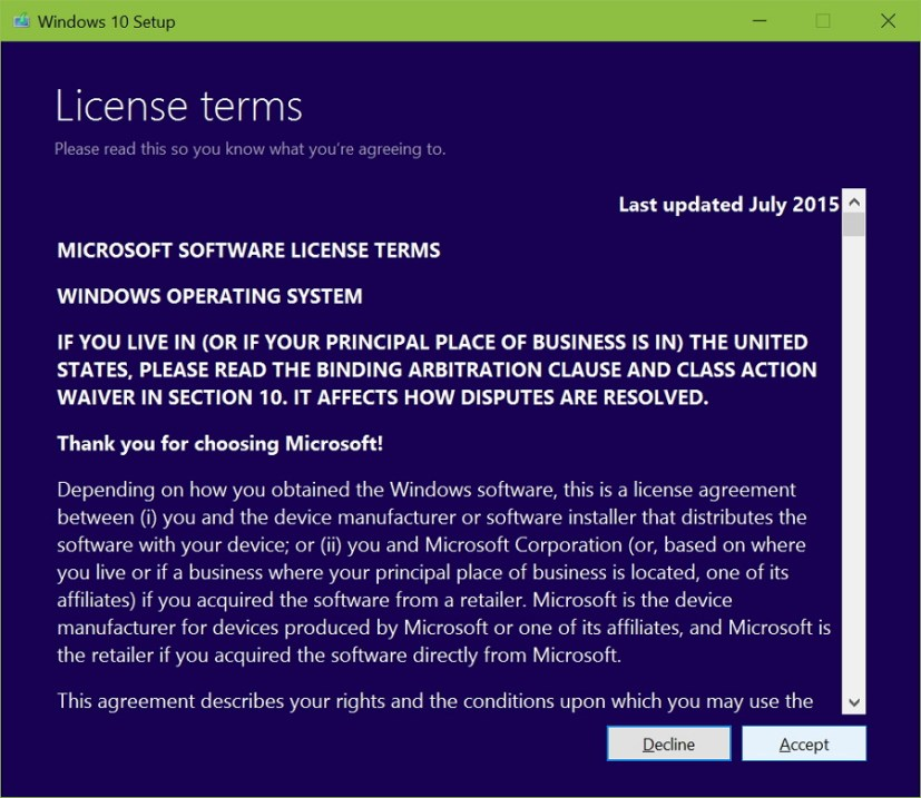 Accept Windows 10 licensing agreement