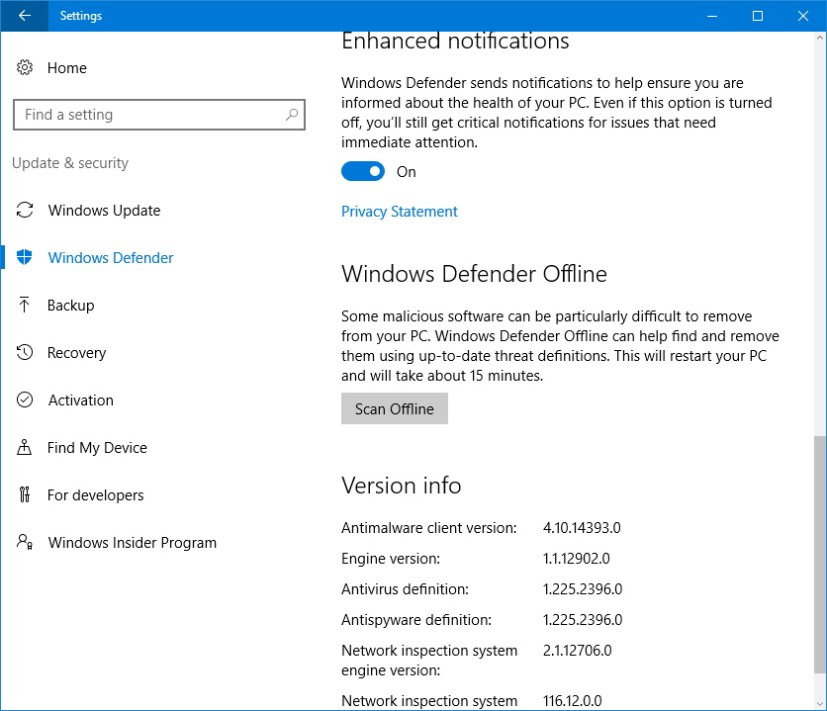 Windows Defender offline scanning