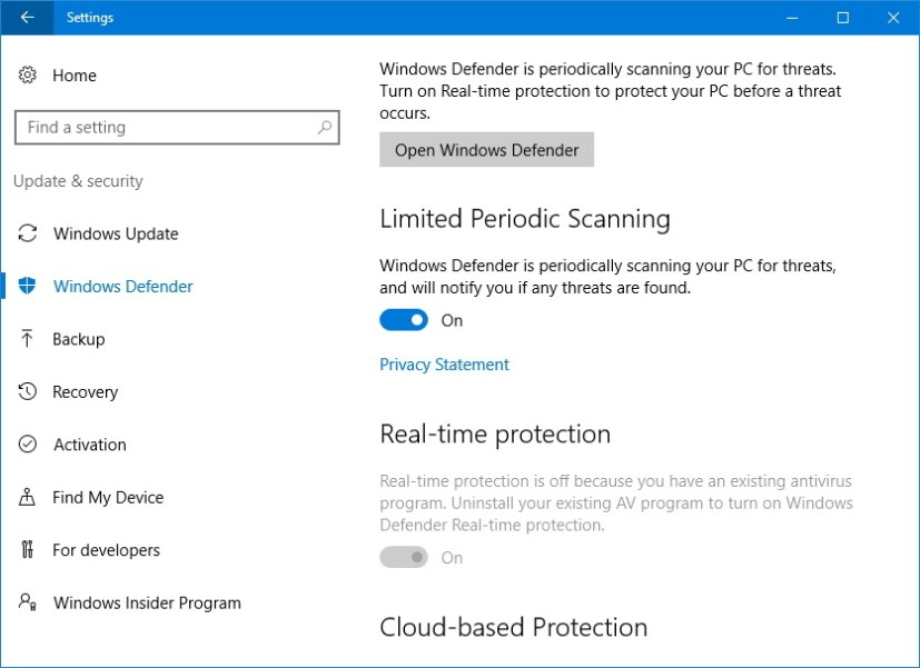 Windows Defender Limited Periodic Scanning