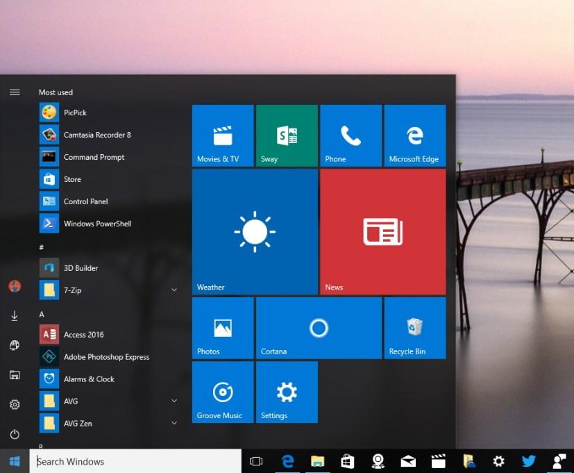 New Start menu Windows 10 Anniversary Update