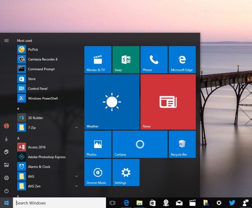 New Start menu Windows 10 Anniversary Update