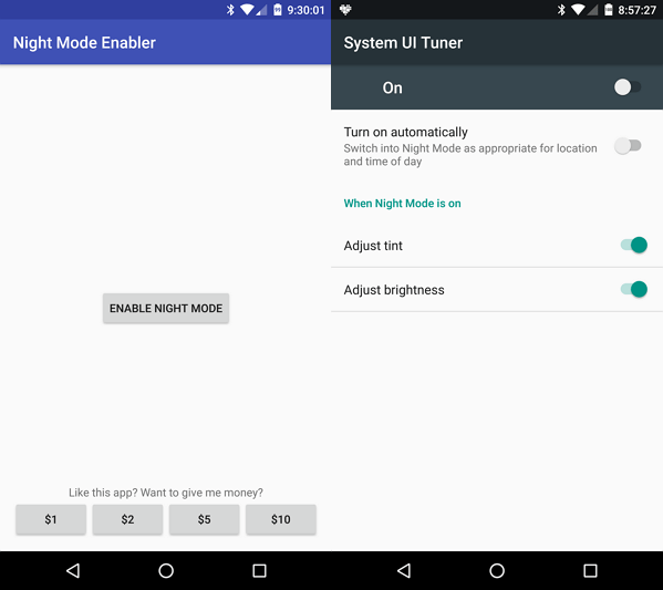Night Mode Enabler for Android 7.0 Nougat