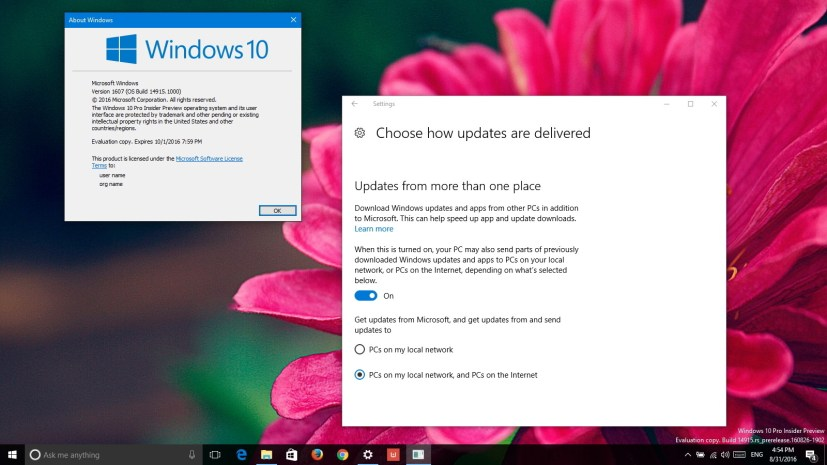 Windows 10 build 14915 (Redstone 2)