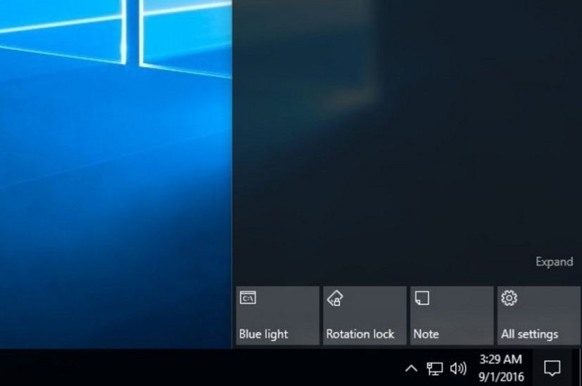 Windows 10 Redstone 2 Blue light (night mode)  Quick Action button on Action Center