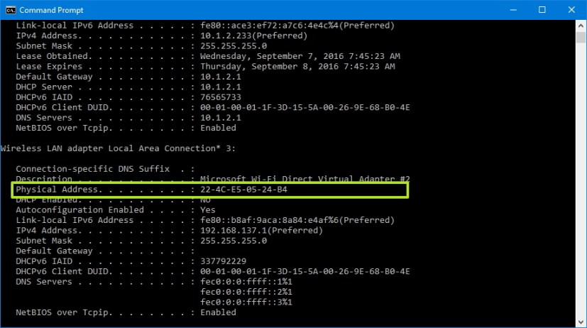 Find MAC address using Command Prompt