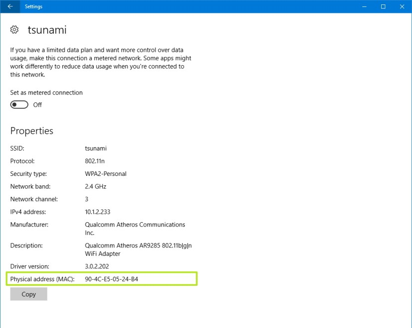 Find MAC address using Settings app on Windows 10