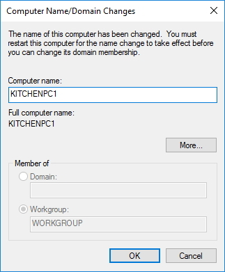 Change computer name using System Properties on Windows 10