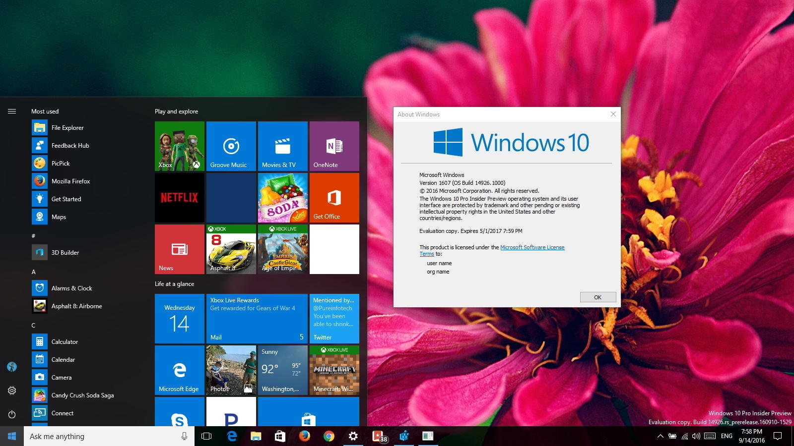 Windows 10 build 14926