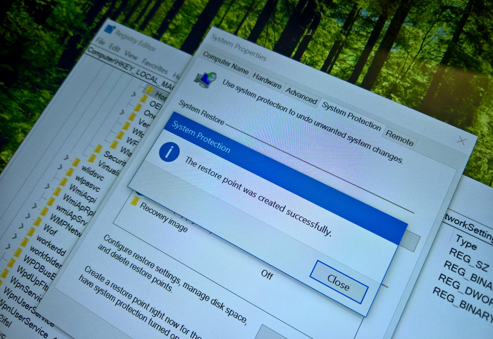 Backup Registry using System Restore on Windows 10