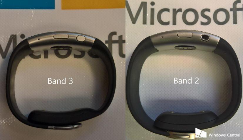Microsoft Band 3 and Microsoft Band 2 side-by-side