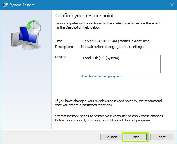 Confirm System Restore process