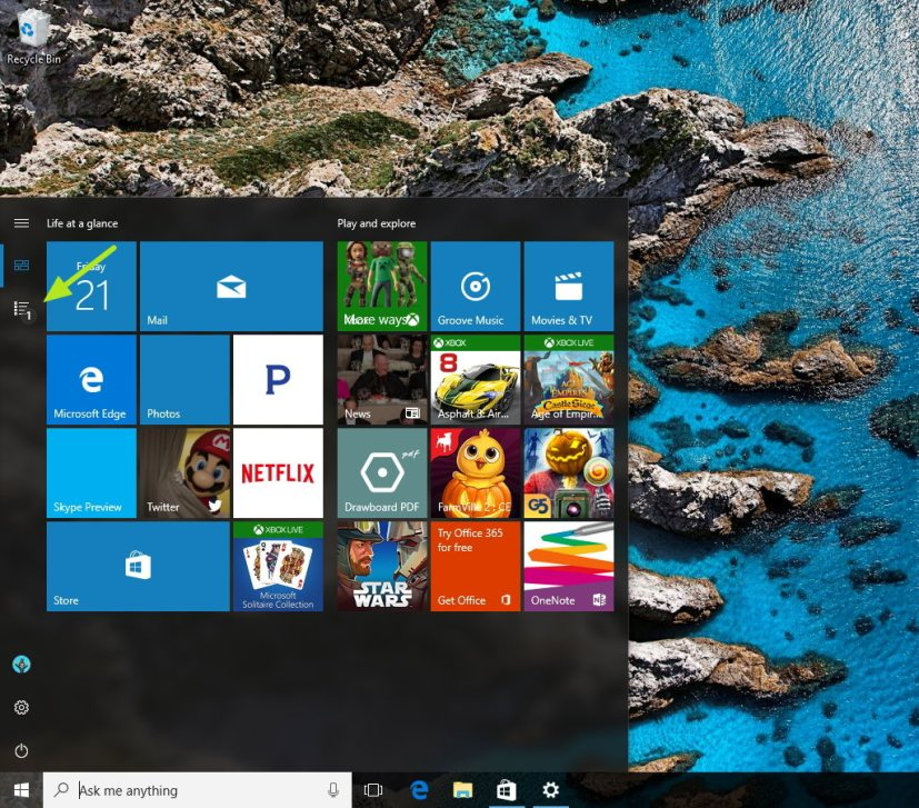 Start menu Pinned tiles view