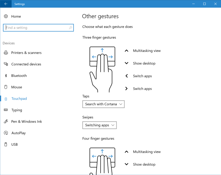 Windows 10 build 14946 Touchpad settings