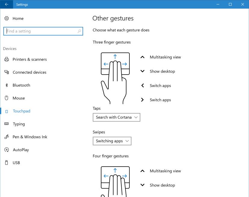 Windows 10 Creators Update Touchpad settings