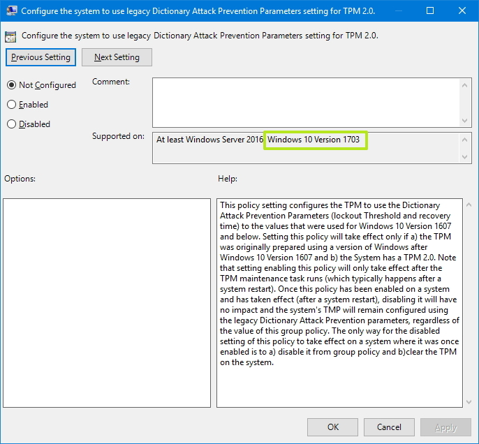 Windows 10 version 1703 gpedit reference