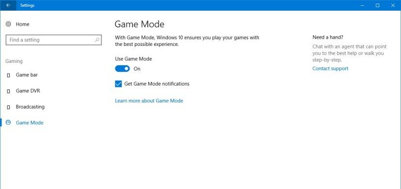 Game Mode settings