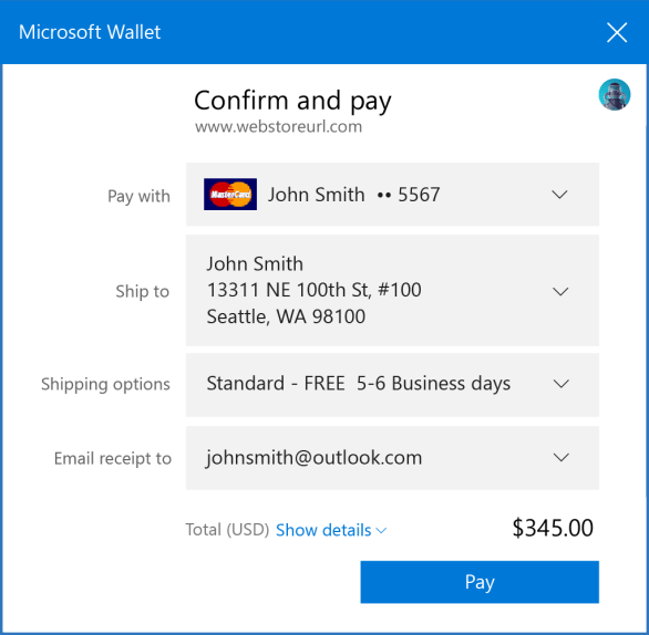 Microsoft Edge web payment using Microsoft Wallet