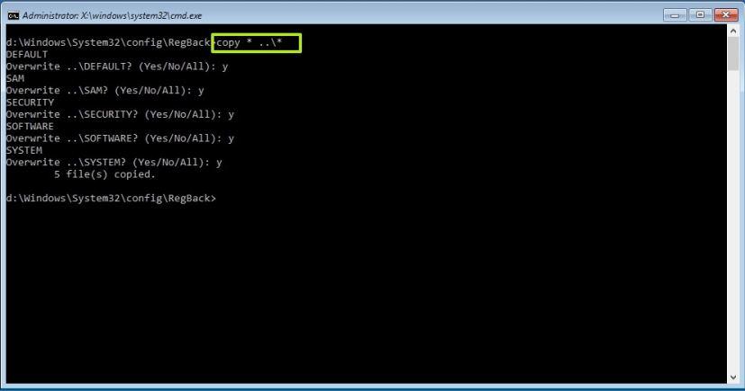 Restoring Registry from its backup