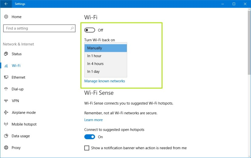 Schedule Wi-Fi to turn on automatically using Settings