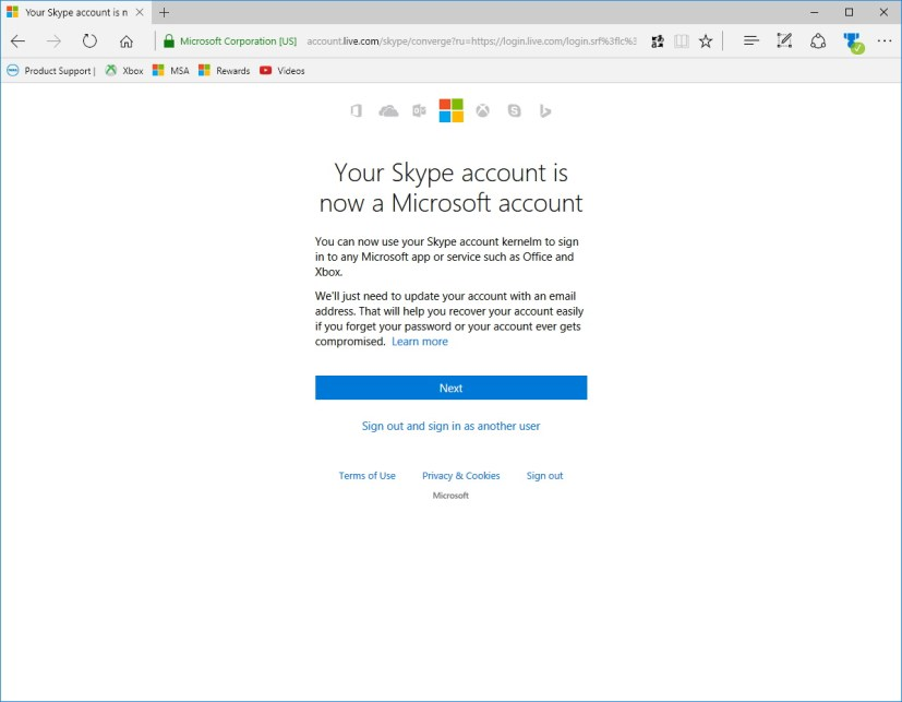 Your Skype account is now a Microsoft account
