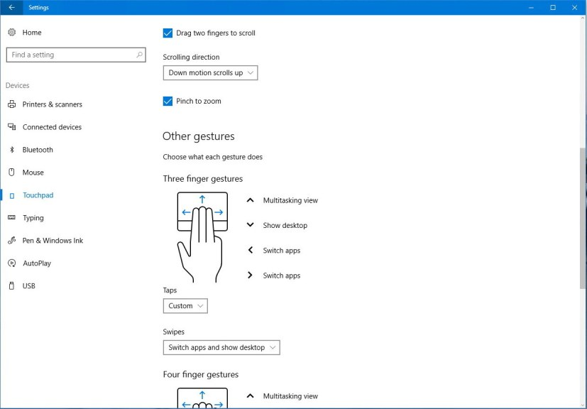 Virtual touchpad settings on Windows 10