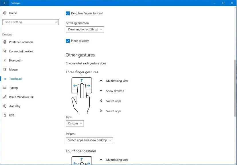 Virtual touchpad settings on Windows 10