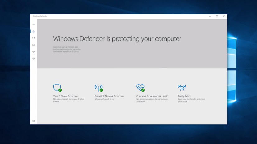 Windows Defender app for the Windows 10 Creators Update