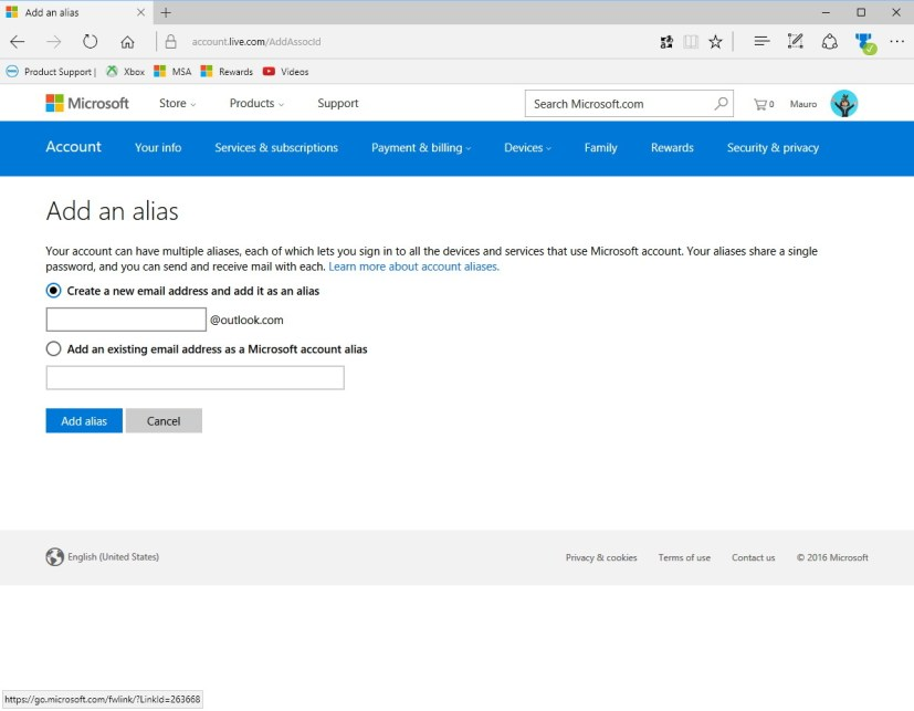 Add an alias to a Microsoft account