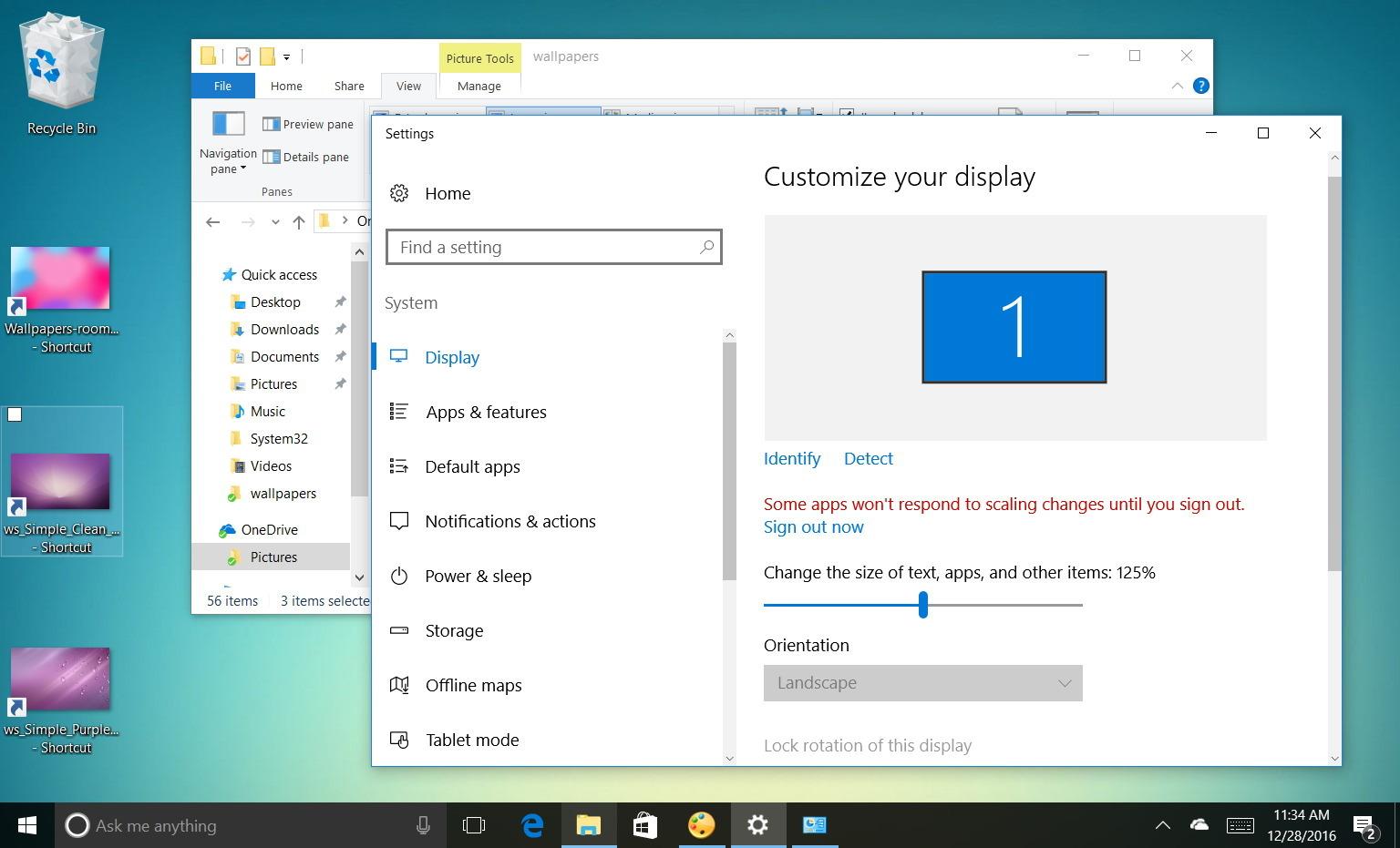 Changing Windows 10 DPI scaling settings